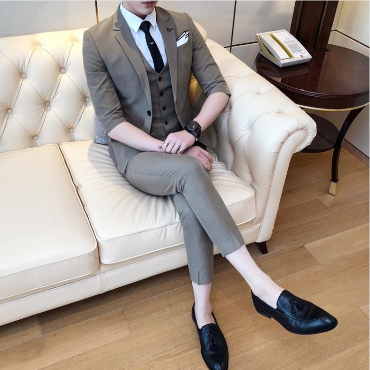 Men 39 s Wedding Dress 2019 Tuxedos Wedding Mens Fashion Wool Suit Men Short Sleeve Wedding Suits Man Jacket Vest Pants in Suits from Men 39 s Clothing