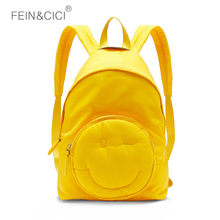 fdd31095cec0 Casual nylon cute Backpack Waterproof Laptop Smiley Women Large Capacity rucksack  School Bag for Teenager Girl Student yellow