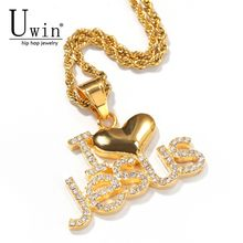 UWIN I Iove Jesus Pendant Stainless Steel With Rhinestone Trendy Rock Punk Necklace Men Jewelry(China)