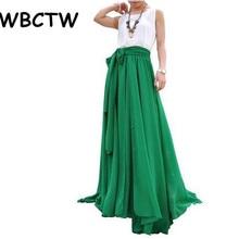 c0e9c35248 WBCTW mujeres plisada faldas 2018 XXS-10XL Plus tamaño cintura alta Falda  larga verde Casual Maxi falda de playa