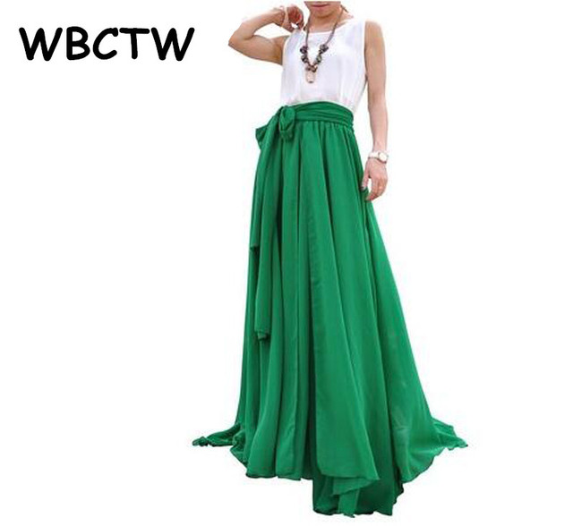 2d4c8f8552f WBCTW Women Pleated Skirts 2018 XXS-10XL Plus Size High Waist Long Skirt  Solid Green Casual Loose Maxi Beach Skirt