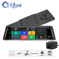 Kissen 10 Inch 3G Android 5.1 Car DVR Touch Dash Cam Rearview Mirror Dash Camera Dual Lens GPS Navigation Wifi Bluetooth Radar