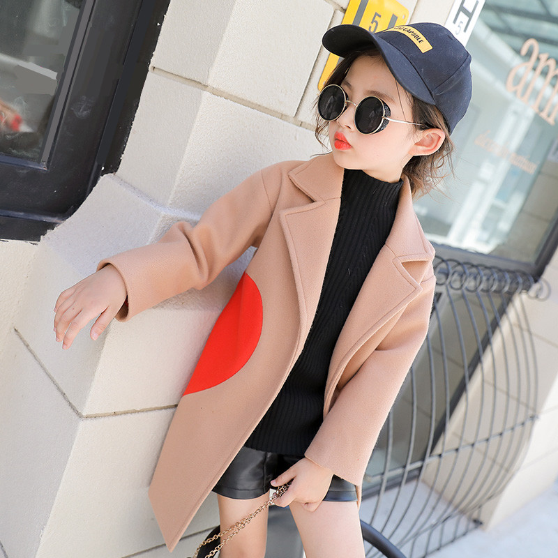 Woolen coat 2018 new fashion girls autumn and winter wear big children's temperament woolen coat little girl long coat one button design longline woolen coat page 8