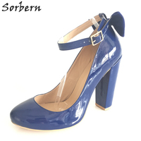 US15 Navy Blue Round Toe Women Pumps Bowknot High Heels Ankle Strap Stilettos Patent Leather Ladies