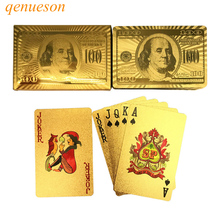24 Karat Gold Foil Plated Baccarat Texas Hold'em Plastic Playing Cards Waterproof Poker Cards Board Games 2.28*3.46inch qenueson