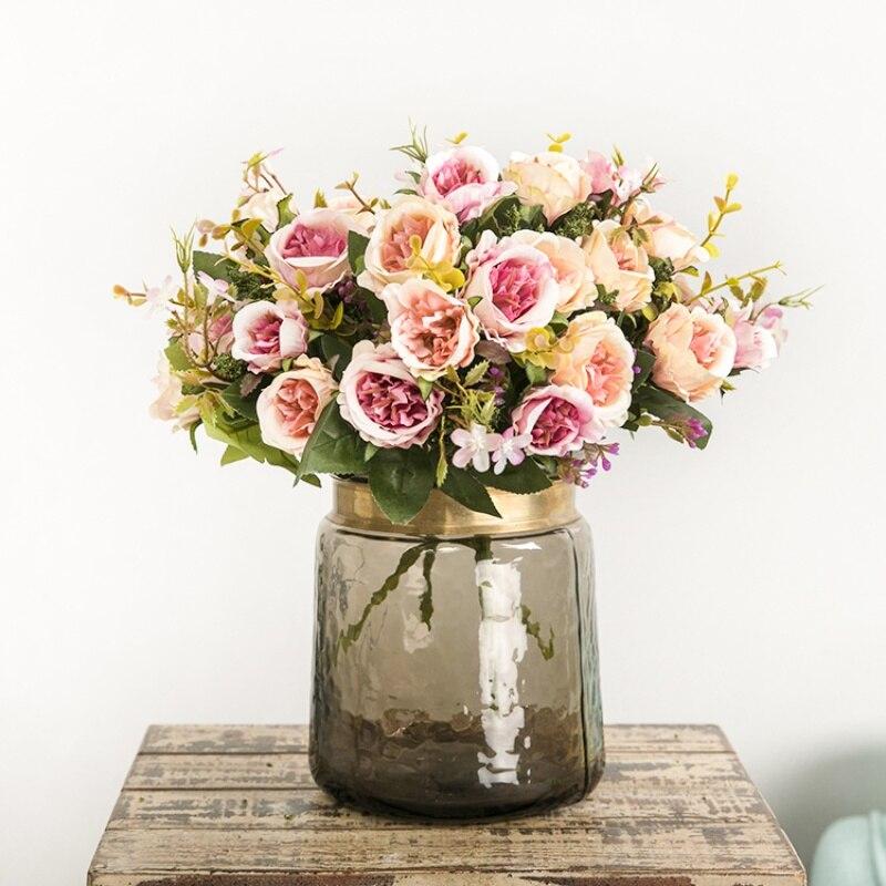 Поддельные цветы 5 филиалов 8 голов искусственные цветы розы 1 шт. букет офисные обеденн ...