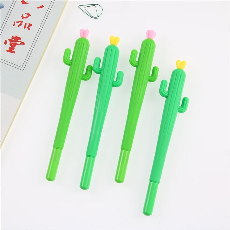 2 PCS Cute Creative Cactus Gel Pens Stationery Office School Supplies Gift Gel Pen 0.38mm Black Ink все цены