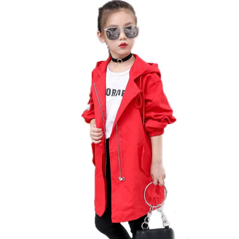 Детская Весенняя верхняя одежда 2018 детская одежда одноцветное длинная стильная весенние куртки для девочек с капюшоном Повседневная тренч...