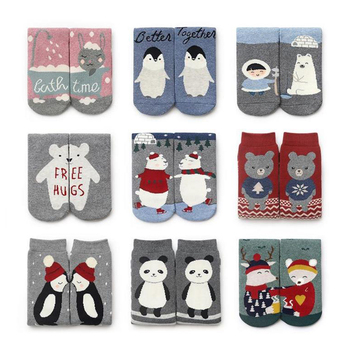 Nowe bawełniane Cute Cartoon Sox moda AB boże narodzenie grube skarpety damskie prezent kobiety zima ciepłe skarpetki Meias Holiday Party akcesoria