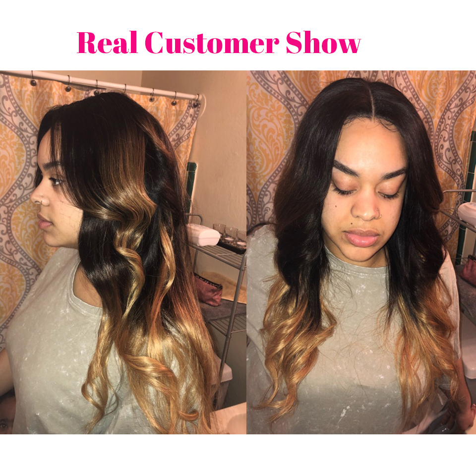 Blonde 13x4 Lace Frontal Closure With Bundles Body Wave Human Hair Ombre Brazilian Hair Weave Bundles With Closure SAY ME Remy