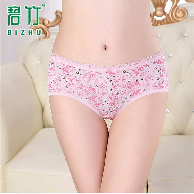 BIZHU 2016 Cute Printed panty Lace Candy colors underwear women panties pants Breathable fiber briefs with bowknot calcinha