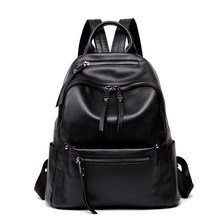 2018 Fashion Backpack Women Luxury Brand Designer Leather Zipper Solid Casual Daily Small School Bag