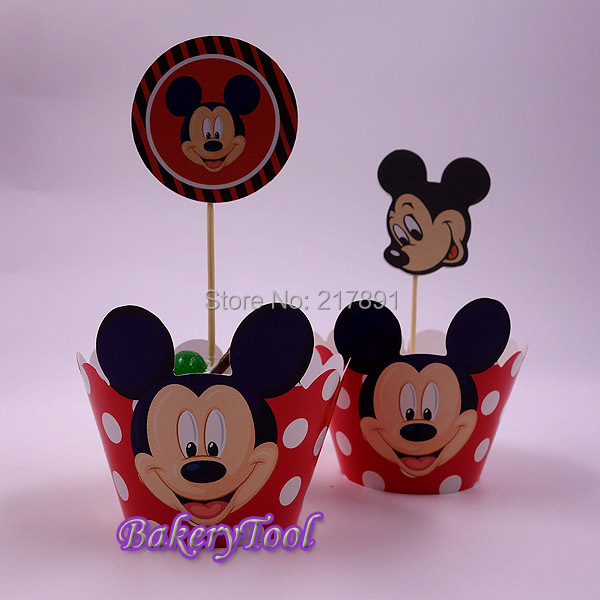 Mickey Mouse Happy Birthday Cake Decorations Toppers Cupcake Wrapper