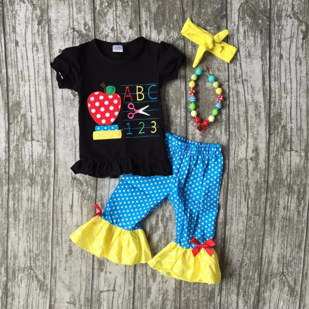 Back to school baby girls outfits boutique clothes ABC 123 apple scissors ruffles woven capris set with matching accessories kids clothes girls boutique clothing girls back to school outfits girls summer outfits with matching headband