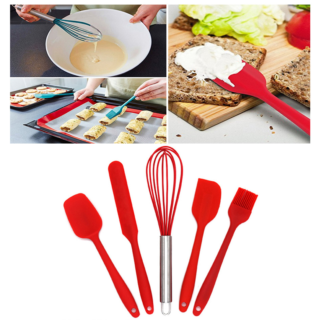 10Pcs/Set Red Resitant Non-stick Silicone Kitchen Utensils Set Cooking Bake Tool Spatula, Spoon, Ladle, Spaghetti Server
