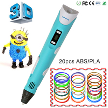 3d pens via 3D printer pen dewang 2nd LED Display With variousABS/PLA for Arts creating For Kids Drawing Tools
