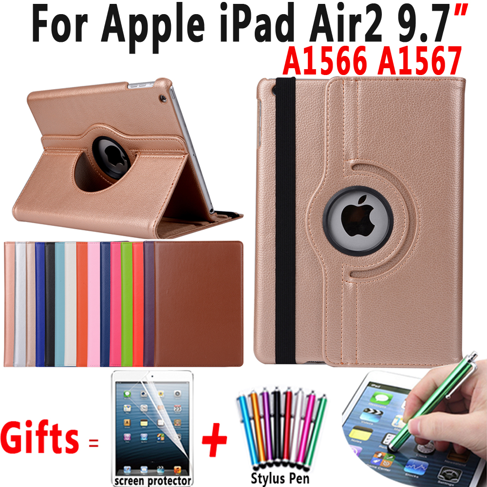 360 Degree Rotating Litchi Pattern PU Leather Cover Case for Apple iPad Air 2 iPad 6 9.7 inch Coque Capa Funda with Stand Holder case cover for ipad air 2 360 rotation flip pu leather stand case for ipad 2017 stand funda case for ipad 2017 case