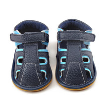 Delebao 2017 Summer Color Baby Sandals Navy Blue And Sky Blue Hollow Hook & Loop Hook & Loop Sole Prewalkers Baby Shoes