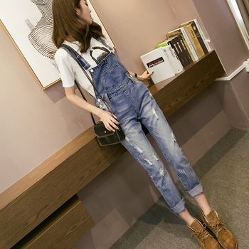 Korean Women Jumpsuit Denim Overalls Spring Autumn Casual Loose Pants Strap Ripped Holes Pockets Full Length Jeans цена 2017