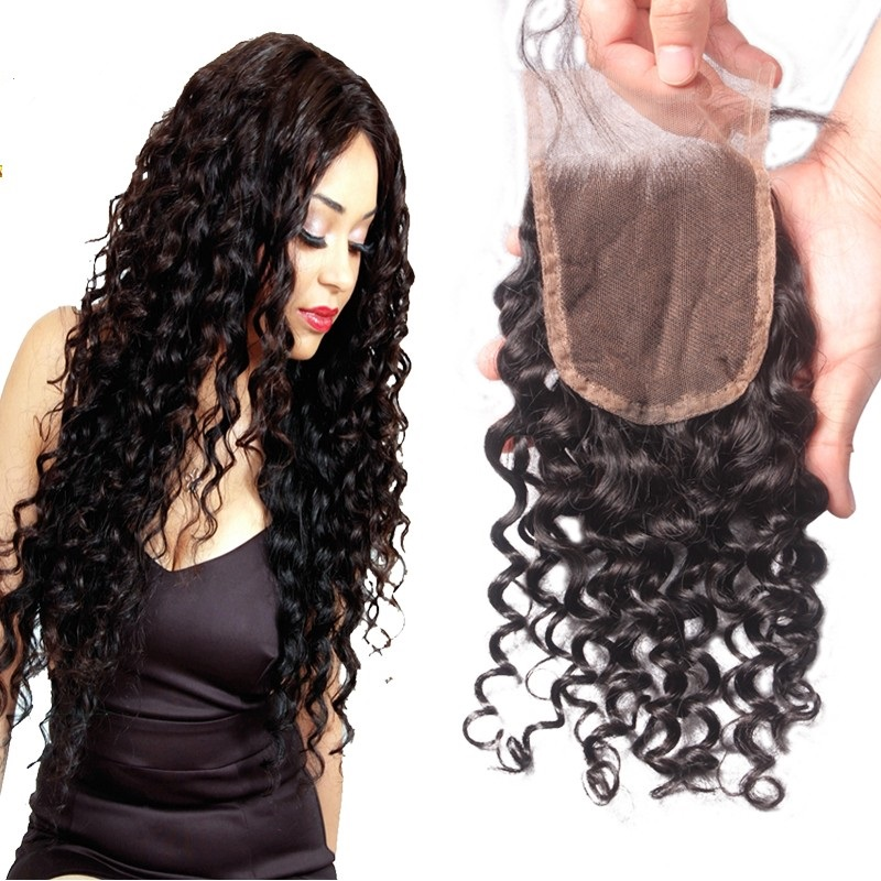 Brazilian Deep Curly Lace Closure 4*4 Swiss Lace Medium Brown With Baby Hair 100% Remy Human Hair Free Part Bleached Knots Favor