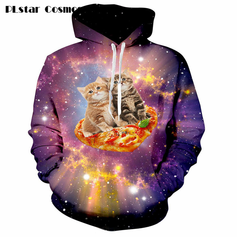 Galaxy Pizza Cat Print 3d Hoodie Women Men Harajuku style Sweatshirts funny Jumper Outfits Hipster Sweats drop shipping