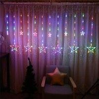 12 stks Pentagram Gordijn LED Sterren Licht string DIY bruiloft decoratie verjaardagspartij kinderen feestartikelen 6