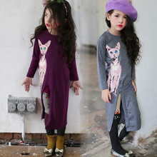fashion 2016 spring New Children Dress For Girl Cartoon Cat Print Long Sleeve Girl Dress Baby Dress Size 100-140