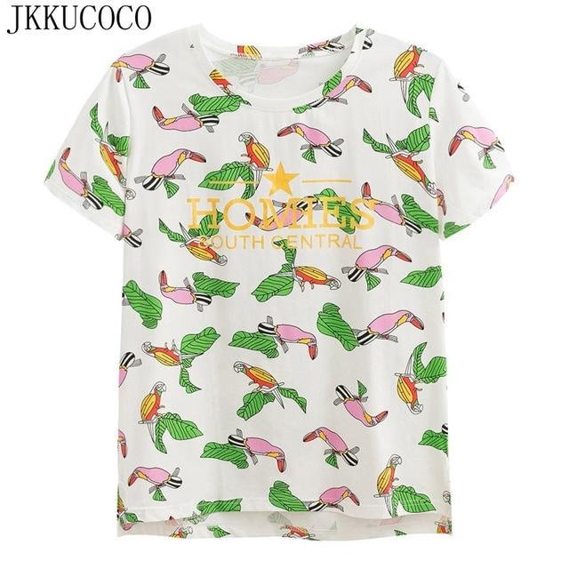 JKKUCOCO Tops Hot Tees New Women t shirt Green Leaves Parrot Print tee  Short Sleeve t-shirts Women shirt Tops Cotton T-shirt 25eb155351