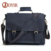 JOYIR Men's Briefcase Crazy Horse Genuine Leather Men's Business Bag Vintage Messenger Shoulder Bag For Male Men's Leather Bag