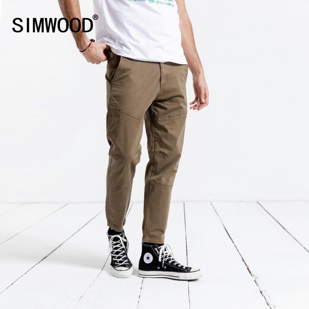 SIMWOOD 2019 Calça Casual Tornozelo-Comprimento das Calças Dos Homens Moda Slim Calças Masculinas da Primavera de Alta Qualidade Plus Size Roupas de Marca 180612