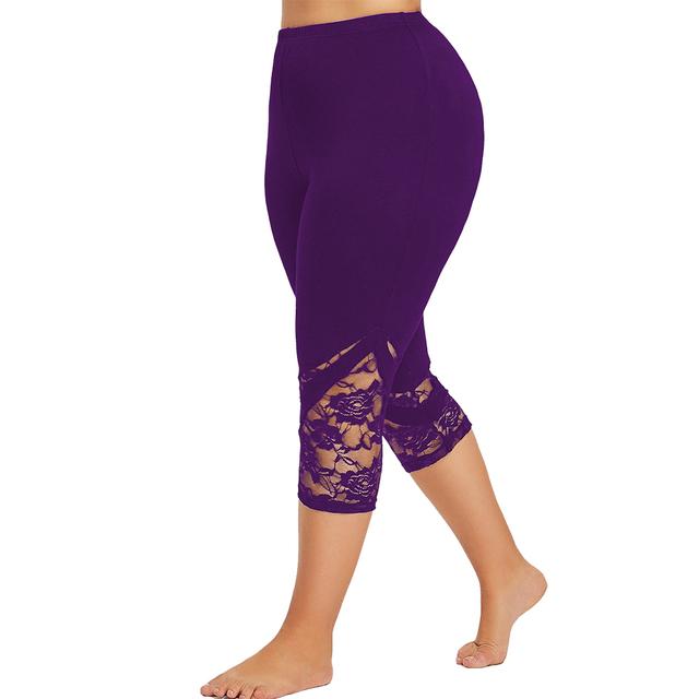 Women's Lace Trim Plus Size Capris 4 Colors  XL-5XL