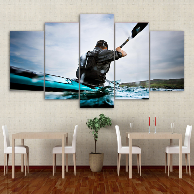 Modular Pictures Frame 5 Panel Water Sports Canoeing Wall Art Poster Modern Home Decor Living Room Or Bedroom Canvas Print Paint