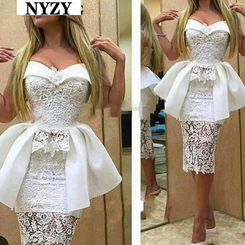 vestido curto White Lace   Cocktail     Dresses   NYZY C160 Mermaid   Dress   Party Homecoming Graduation Robe Soiree Dubai
