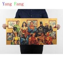 Vintage DC Comics Liga de la justicia superhéroes cartel de película retro Kraft papel Bar Café decoración del hogar cuadro adhesivo para pared 70x34cm