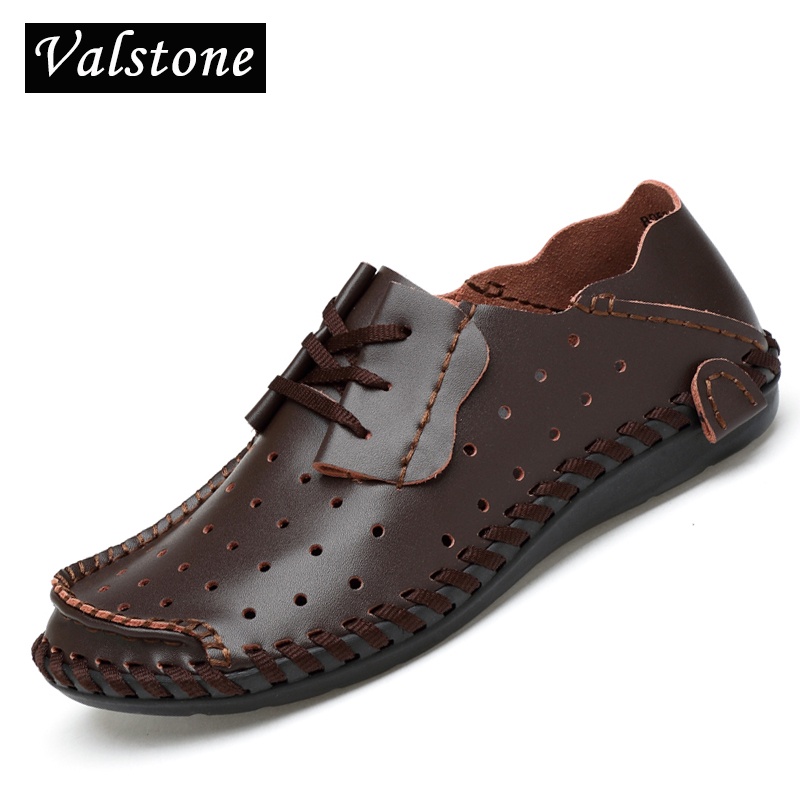 289ee46b1e56ba Hommes Faits Lacets Black Hollowed 2018 brown D'été La Main Bout  Quotidiennes Brown Hollowed Brown black Creusé Chaussures Valstone dark  brown Cuir ...