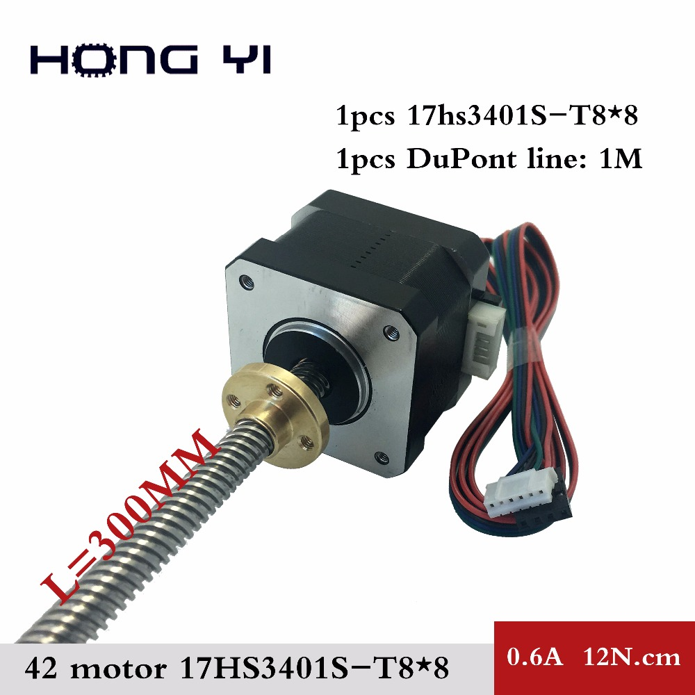 free shipping nema17 Screw stepper motor 17HS3401S-T8x8-300MM with Copper nut lead 8mm for CE ROSH ISO CNC Laser and 3D printer free shipping 10pcs 3d printer m8 trapezoidal screw for supporting all the copper nut stepper motor guide screw for lead screw