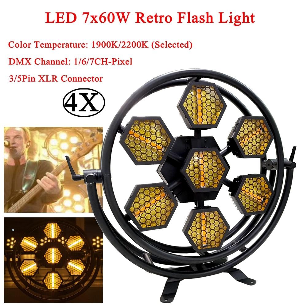 4Pcs/Lot LED 7x60W Retro Flash Lights DMX512 Flashing Lights Dance Club Disco Ball DJ Sound Party Club Stage Effect Lights