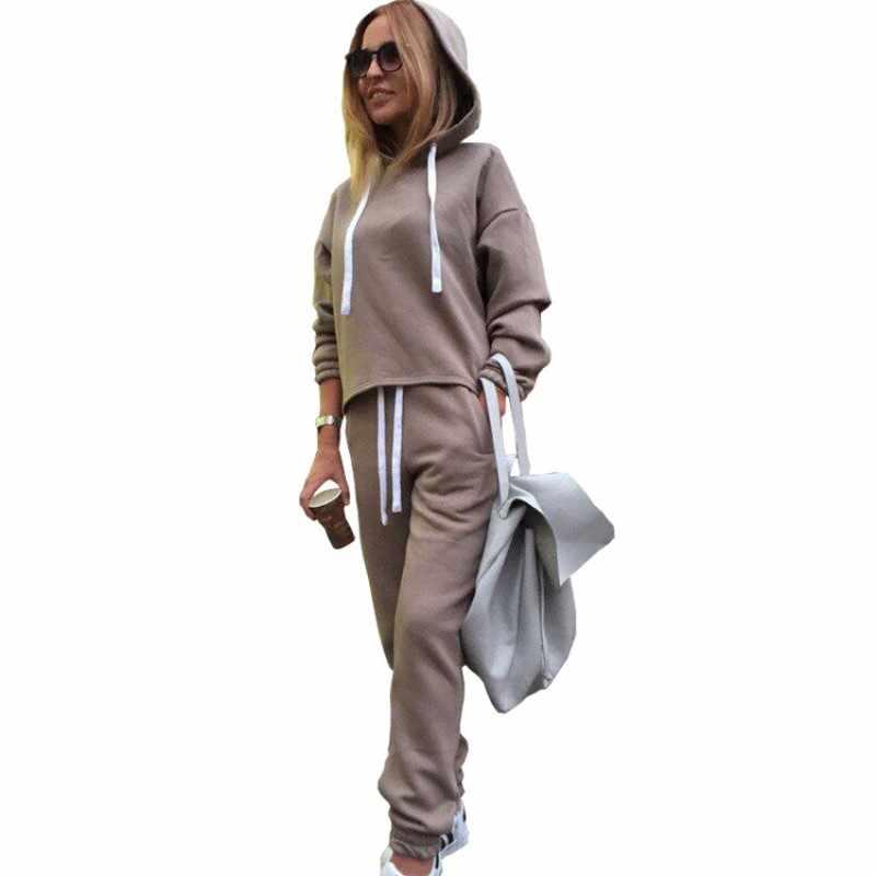 2018 ฤดูใบไม้ร่วงแขนยาว Thicken Hooded เสื้อ 2 ชิ้นชุดสบายๆชุดกีฬาผู้หญิงชุด