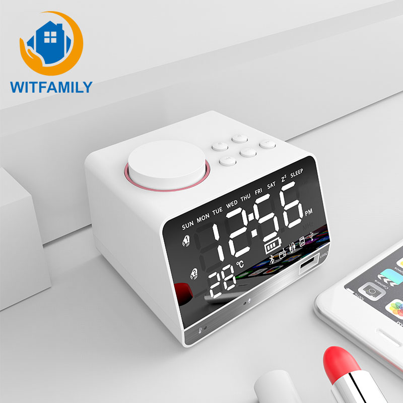 Bluetooth FM radio digital alarm clock electronic wireless call LED display despertador Bass speaker table clock