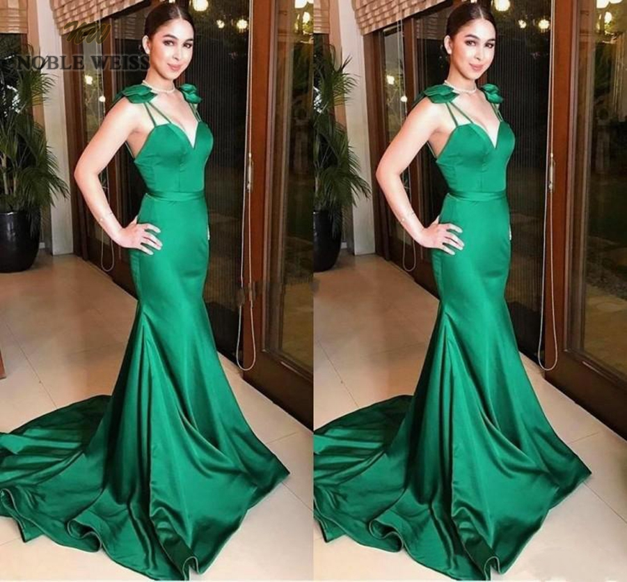 prom     dresses   green long mermaid   prom     dress   sexy vestido formatura bare back sweetheart girl evening gowns with sweep train