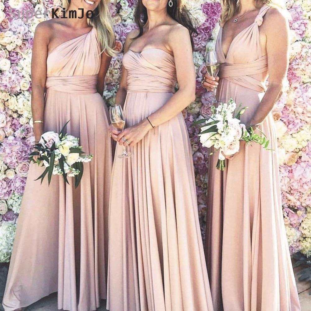 SuperKimJo Convertible Bridesmaid Dresses Long 2019 Cheap Custom A Line Wedding Party Robe Demoiselle Dhonneur