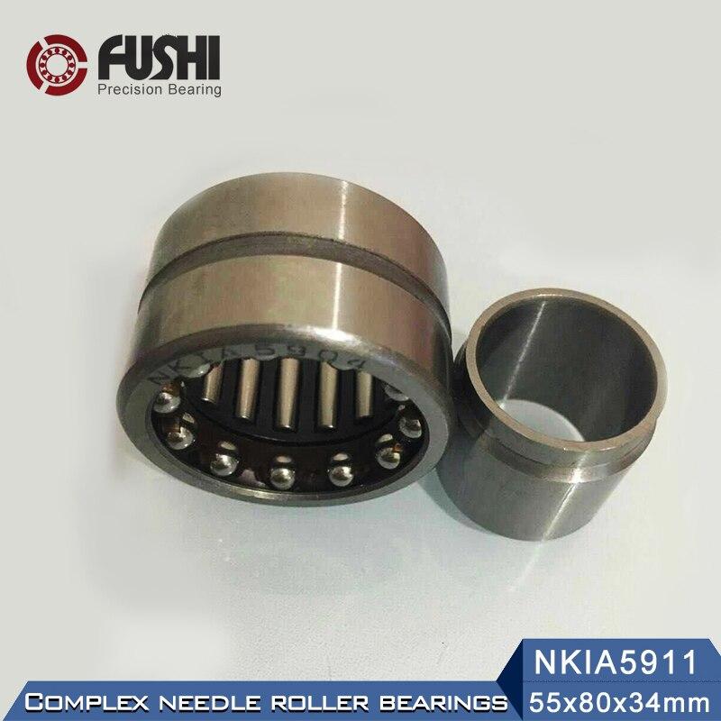 NKIA5911 Complex Bearings 55*80*34mm ( 1 PC) Needle Roller Angular Contact Ball Bearing NATA5911 NATA 5974911 1pcs 71822 71822cd p4 7822 110x140x16 mochu thin walled miniature angular contact bearings speed spindle bearings cnc abec 7