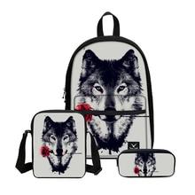 3D Милый Волк печать 3 шт. школьные сумки набор ноутбук школьные рюкзаки для подростков девочек мальчиков рюкзак Sac Dos Femme ранец дети
