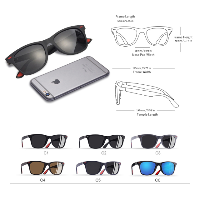 Men's Classic Polarized Square Sunglasses