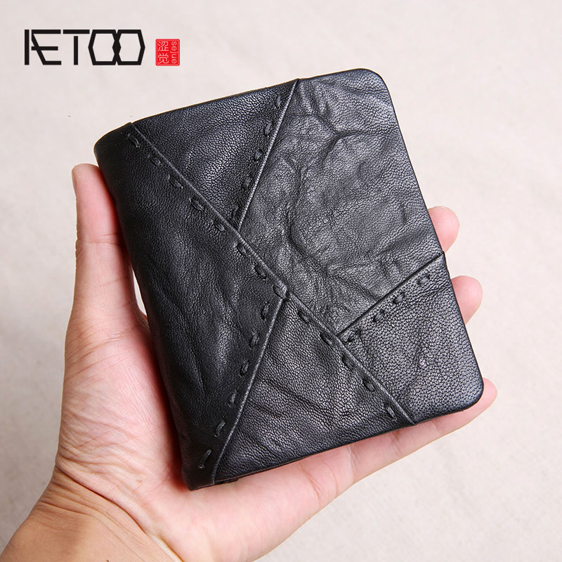 AETOO Handmade wallet men's short leather sheepskin wallet youth soft leather vertical wallet stitching wallet цена