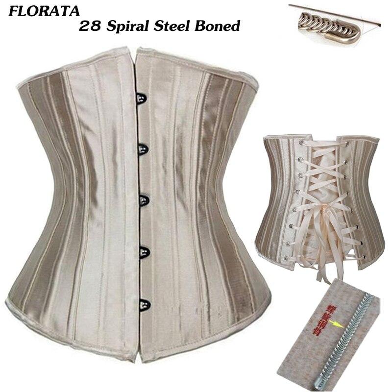 FLORATA USPS dropship Floral deshuesado acero Underbust apretado cintura corsés Cincher Bustiers Lencería encaje hasta tamaño S-6XL