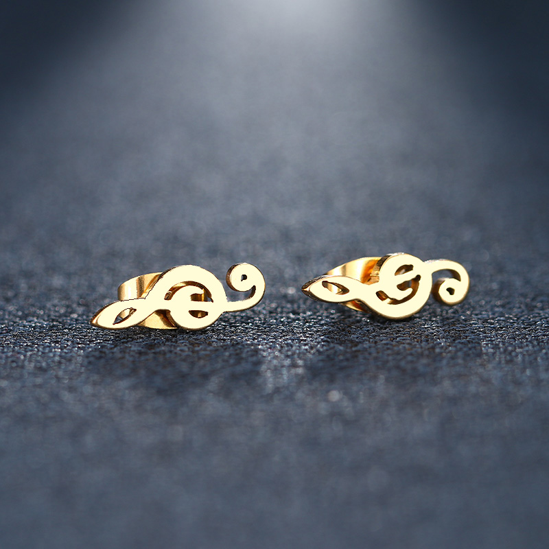 Cacana Stainless Steel Stud Earring Music Treble Clef IMG_5499