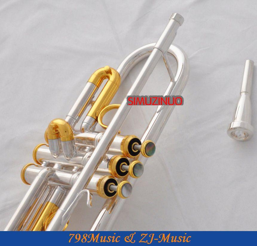 Profesjonalny srebrny pozłacany trąbka Monel B-płaski czarny - Instrumenty muzyczne - Zdjęcie 6