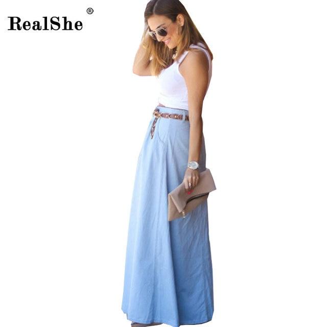 RealShe Mujeres Largo de La Falda 2017 Mujeres Del Verano de la Manera de la Cintura Natural Falda Larga Ocasional Mujeres Más Tamaño Falda de Mezclilla Saias RS2211