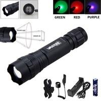 501 lg 550 루멘 1 모드 zoomable 방수 야외 보라색/빨간색/녹색 빛 손전등 (압력 스위치 포함)